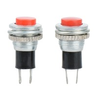 Кнопка DS-316 2PIN 0,5A-125V 7,8мм OFF-(ON) красная без фиксации
