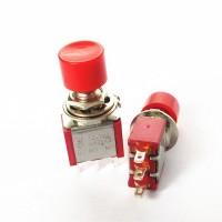 Кнопочный переключатель PS-102 3A-250V 3PIN 6мм красный, красная голова без фиксации