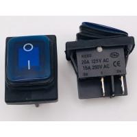 Переключатель клавишный синий с подсветкой KCD2 4PIN 20A-125V 21,5х27мм (ON-OFF) влагозащита