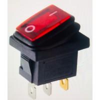 Переключатель клавишный красный с подсветкой KCD1 3PIN 6A-250V 13x19мм (ON-OFF) влагозащита