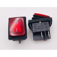 Переключатель клавишный красный с подсветкой KCD2 4PIN 20A-125V 21,5х27мм (ON-OFF) влагозащита