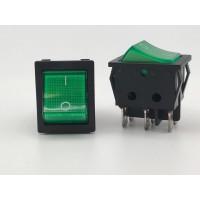 Переключатель клавишный зеленый с подсветкой KCD4 6PIN 16A-250V 21,5х27мм (ON-OFF)