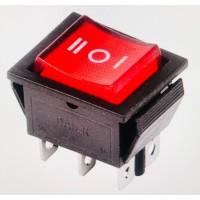 Переключатель клавишный красный с подсветкой KCD4 6PIN 16A-250V 21,5х27мм (ON-OFF-ON)