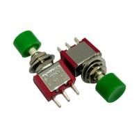 Кнопочный переключатель PS-102 3A-250V 3PIN 6мм красный, зеленая голова без фиксации