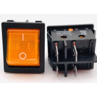 Переключатель клавишный оранжевый с подсветкой KCD4-201N-B 4PIN 30A-250V 21,5х27мм (ON-OFF)