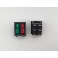 Переключатель клавишный с двойной подсветкой зеленый-красный KCD6 6PIN 20A-250V 21,5х27мм (ON-OFF)