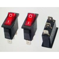 Переключатель клавишный красный с подсветкой 16А-250V 3PIN (ON-OFF) 10,5х27мм