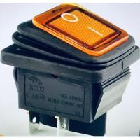Переключатель клавишный оранжевый с подсветкой KCD2 4PIN 20A-125V 21,5х27мм (ON-OFF) влагозащита