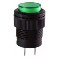 Кнопка R16-503BD-G 2PIN 3A-250V 16мм OFF-(ON) зеленая без фиксации