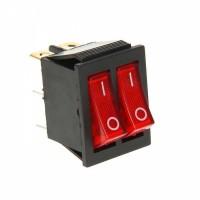 Переключатель клавишный двухпозиционный красный с подсветкой KCD6 6PIN 20A-250V 21,5х27мм (ON-OFF)