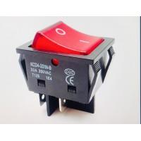 Переключатель клавишный красный с подсветкой KCD4-201N-B 4PIN 30A-250V 21,5х27мм (ON-OFF)