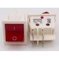 Переключатель клавишный красный с подсветкой KCD4-201N-B 4PIN 30A-250V 21,5х27мм (ON-OFF) (белый корпус)