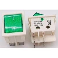 Переключатель клавишный зеленый с подсветкой KCD4-201N-B 4PIN 30A-250V 21,5х27мм (ON-OFF) (белый корпус)