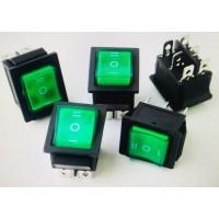 Переключатель клавишный зеленый с подсветкой KCD4 6PIN 16A-250V 21,5х27мм (ON-OFF-ON)