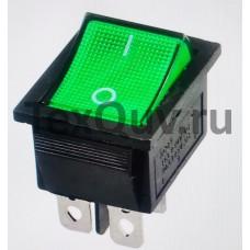 Переключатель клавишный зеленый с подсветкой KCD4 4PIN 16A-125V 21,5х27мм (ON-OFF)