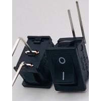 Переключатель клавишный черный с изогнутыми ножками 10А-250V 2PIN (ON-OFF) 13х19мм
