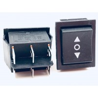 Переключатель клавишный черный KCD4 6PIN 16A-250V 21,5х27мм (ON-OFF-ON)