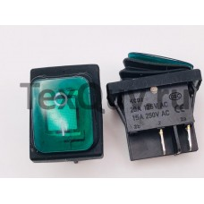 Переключатель клавишный зеленый с подсветкой KCD2 4PIN 20A-125V 21,5х27мм (ON-OFF) влагозащита