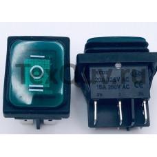 Переключатель клавишный зеленый с подсветкой KCD2 6PIN 20A-125V 21,5х27мм (ON-OFF-ON) влагозащита
