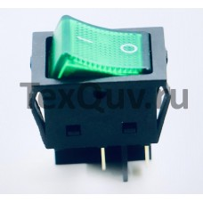 Переключатель клавишный зеленый с подсветкой KCD4-201N-B 4PIN 30A-250V 21,5х27мм (ON-OFF)