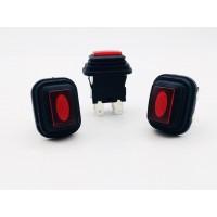 Переключатель кнопочный красный с подсветкой влагозащита 16А-250V 4PIN 13х20мм