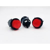 Переключатель кнопочный с фиксацией круглый 16А-250V 4PIN красный с подстветкой D23мм