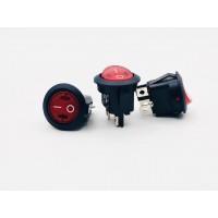 Переключатель клавишный круглый красный с подсветкой 10А-250V 4PIN (ON-OFF) 21мм