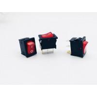 Переключатель клавишный красный с подсветкой 6А-250V 3PIN (ON-OFF) 12х18,5мм