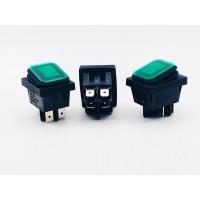 Переключатель клавишный зеленый с подсветкой 16(8)А-250V 4PIN влагозащита 21,5х27мм