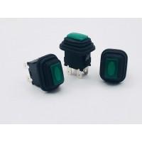 Переключатель кнопочный зеленый с подсветкой влагозащита 16А-250V 4PIN 13х20мм