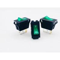 Переключатель клавишный зеленый с подсветкой 16А-250V 3PIN (ON-OFF) 12,5x23мм