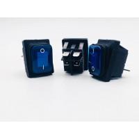 Переключатель клавишный синий с подсветкой влагозащита 16(8)А-250V 4PIN (ON-OFF) 21,5х27мм