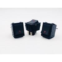 Переключатель клавишный черный с красным датчиком 16А-250V 4PIN (ON-OFF) 21,5x27мм
