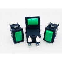Переключатель кнопочный зеленый с фиксацией 16А-250V 4PIN 13x19мм