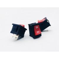 Переключатель клавишный красный 6А-250V 2PIN (ON-OFF) 12х18,5мм