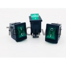 Переключатель клавишный зеленый с подсветкой 6А-250V 4PIN (ON-OFF) 13х18,5мм