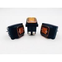 Переключатель клавишный оранжевый с подсветкой влагозащита 16(8)А-250V 4PIN (ON-OFF) 21,5х27мм