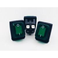 Переключатель клавишный зеленый с подсветкой влагозащита 16(8)А-250V 4PIN (ON-OFF) 21,5х27мм