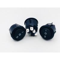 Переключатель клавишный круглый 6А-250V 6PIN черный (ON-OFF-ON) 22,5мм