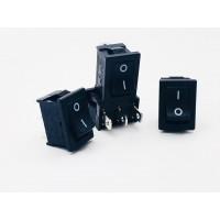 Переключатель клавишный черный 10А-250V 3PIN (ON-OFF) 13х19мм