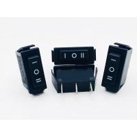 Переключатель клавишный длинный черный 16А-250V 3PIN (ON-OFF-ON) 10,5x28мм