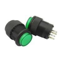 Кнопка R16-503AD-G 4PIN 3A-250V 16мм OFF-ON зеленая с фиксацией